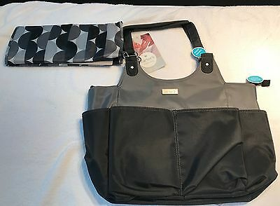 Carters Tote Diaper Bag With Changing Pad Gray Black NEW