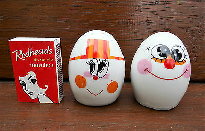 Retro Collectable Porcelain Egg Male And Female Salt & Pepper Shakers