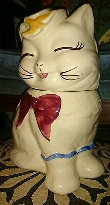 Vintage Shawnee Puss n Boots Pottery Cookie Jar Long Tail Yellow Bird 1940's EUC