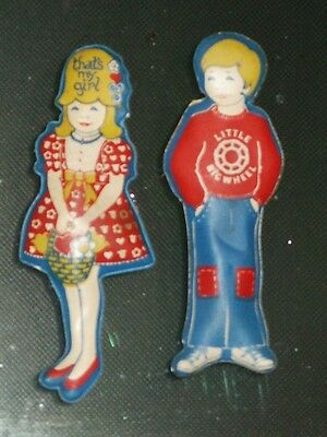 Vintage Advertising Magnets Stanley Home Products Little Big Wheel Boy & Girl