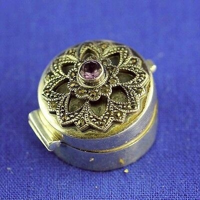 Vintage Sterling 925 Jewel And Marcasite Hinged Round Pill Box