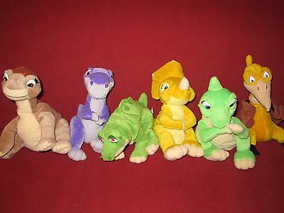 Lot of six Land Before Time plush animals