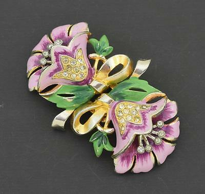 Coro Duette Enamel & Rhinetone Flowers Clips Set with Frame Circa 1940 ~ 9257