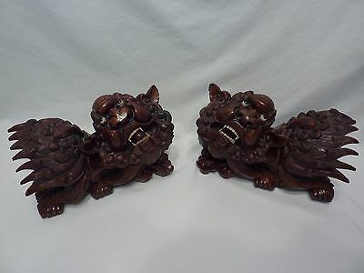 Antique Carved Wood Foo Dogs (China)