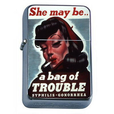 Vintage Poster D191 Windproof Dual Flame Torch She May Be A Bag Of Trouble