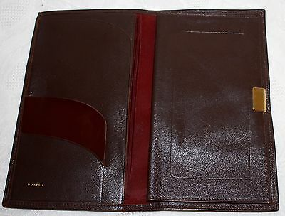 Vintage Buxton Pin Seal Leather Checkbook Holder ID Document Brown