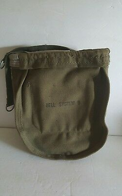 """Vintage Bag ~ Bell System B ~ Lineman Canvas Bag / Pouch with Hooks ~ 10""""  x 9"""""""
