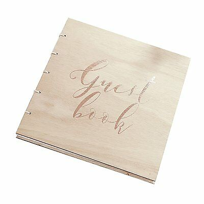 Ginger Ray Wooden Rose Gold Foiled Wedding Christening Guest Book Rustic Vintage