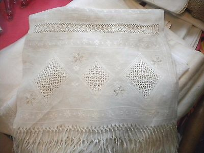 Large Antique Linen Embroidered Fringed Runner Hand Towel