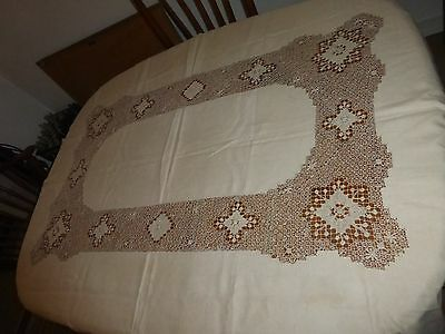 "Antique Knotted Cluny Bobbin Lace & Linen TABLECLOTH 62"" x 80"" Ivory Ecru"