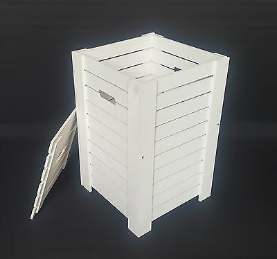 Wooden White Baskets For Dirty Clothes Laundry Storage Box Washing Bathroom Bin