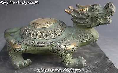"10""China Fengshui Bronze Gild Longevity Dragon tortoise Turtle Coin Money Statue"