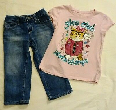girls size 8 lot Old Navy Denim Capri pants Justice T-shirt Pink Kitten