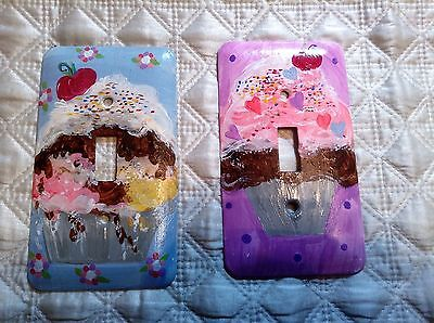 Lot of Two Hand Painted Light Switch Plates Sweet Treat Theme for Girl's Bedroom