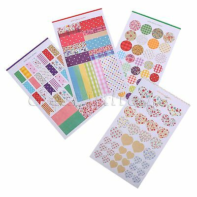 4 Sheets Fashion Round Dot Paper Stickers Diary Book Scrapbook Planner Label DIY