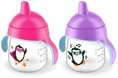 Philips Avent My Penguin Sippy Cup, Pink, 9 Ounce (Pack of 2), Stage 2