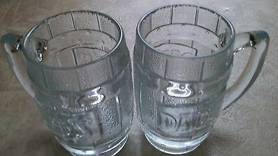 Vintage Clear DADS ROOT BEER Mugs very heavy set of 2