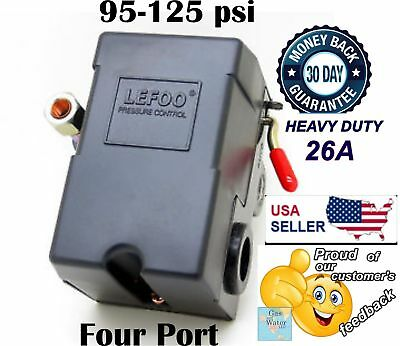 Lefoo Pressure Switch Control 90-125psi 4 Port Heavy Duty 26 Amp for Air