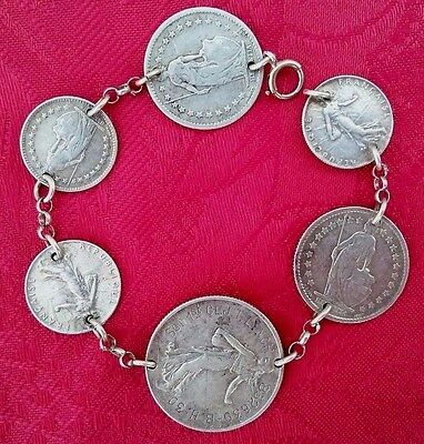 Antique Silver French Coin Bracelet - 1887-1919