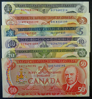 Set of 6  Canadian 1970s Bank Notes $1, $2, $5, $10, $20 & $50  Great Condition