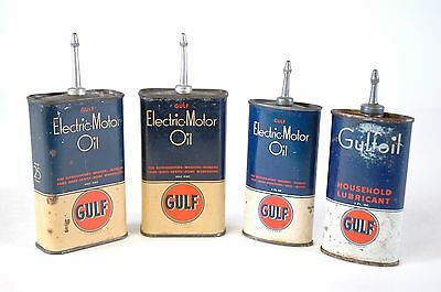 GULF Oil LOT OF 4 - Vintage Electric Motor Oil Household Lubricant can