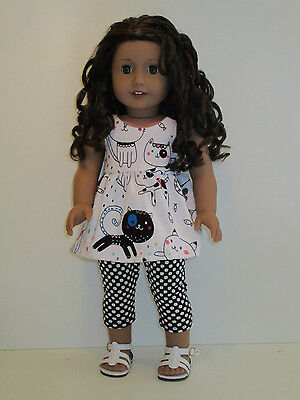 "Cats Top/White Dots Capri Leggings for 18"" Doll Clothes American Girl"