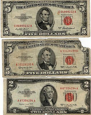 3-Red Seal United States Notes, 2-$5.00 & 1-$2.00, Notes Have Issues, Currency