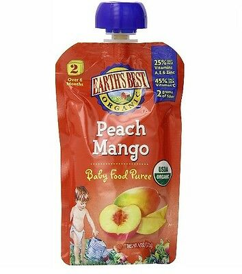 Earths Best Organic Stage 2, Peach & Mango, 4 Ounce Pouch Pack of 12