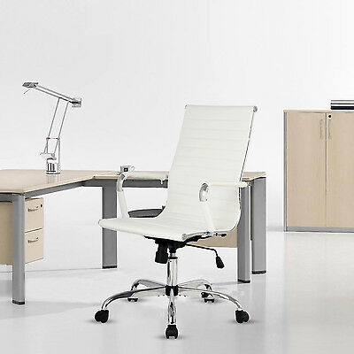 Office Chair Desk Computer Back Leather High PU Executive Ergonomic Seat White