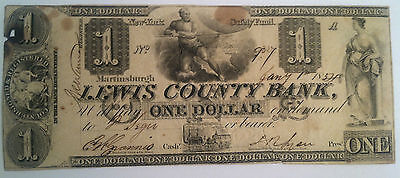 $1 Lewis County Bank Martinsburgh New York Obsolete Bank Note