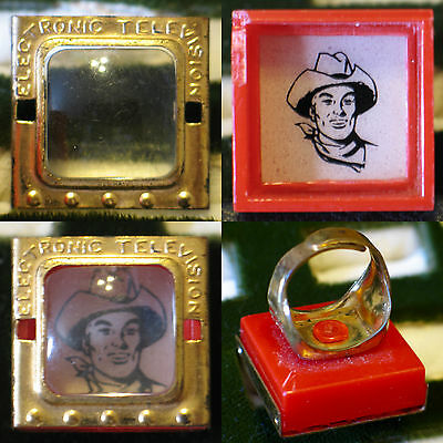 SKY KING ELECTRONIC TELEVISION PICTURE TOY RING 1940's WITH 4 RARE MINI PHOTOS