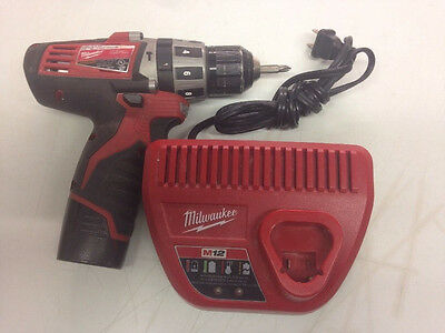 """Milwaukee M12 12v 3/8"""" Hammer Drill 1/4"""" 2411-20 bundled w/ 1 Battery & Charger"""