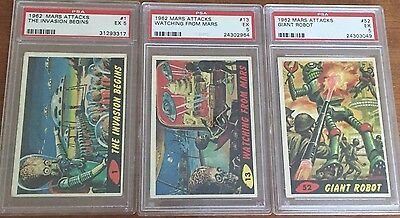 1962 Mars Attacks The Invasion Begins Card # 1 PSA 5 PLUS Card #13 PLUS Card #52