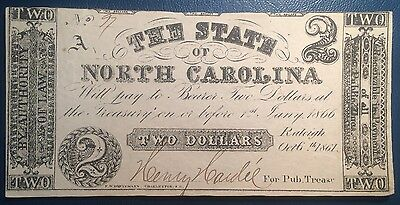 $2 1861 State of North Carolina Obsolete Note Oct. 6th Raleigh