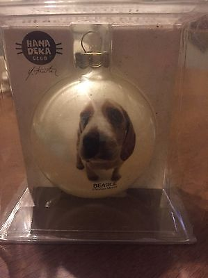 Hanadeka Club Yoneo Morita Beagle Dog  Glass Ball Christmas Ornament