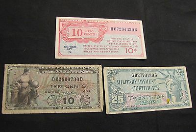 Lot of 3 Military Payment Certificates MPC - Series 471 10 Cents, 481 10, 591 25