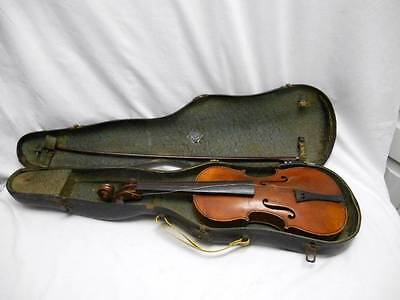 Antique VIOLIN BOW and CASE Tiger Maple Case is dated 1902