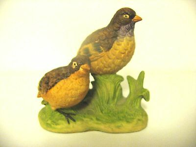 UCTCI Japan~Quail~Bobwhite~Mother and Baby Birds~Porcelain Figurine