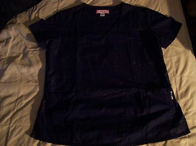 Koi By Kathy Peterson Scrub Top Medium Navy Great Condition