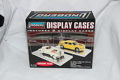 2 Pack 1/24 Single Car Display Cases With Chrome Base
