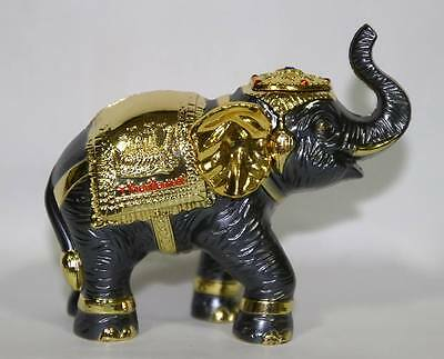 Iron Thai Elephant with Gold Spray Color and Thai Elephant Accessories Decorated