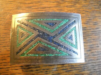 Signed Taxco Td-05 Geometric Inlay Belt Buckle Sterling Silver Malachite Lapis