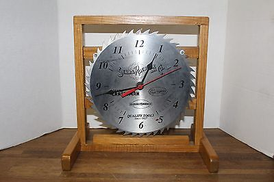 Vtg Sears Roebuck And Co. Craftsman Saw Blade Shop/Table Clock, w/Oak Stand