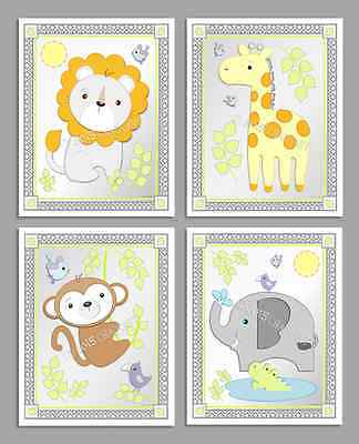 "Baby Animal Art-Set of 4 Prints-8"" x 10""-M2M CIRCO Snooz 'n Safari-Wall Decor"
