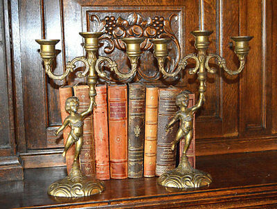 Antique French Cherub Candelabra Pair Brass Candle Holders