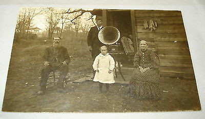 c 1910 Real Photo RPPC Victor Phonograph Family Rustic Cabin Postcard
