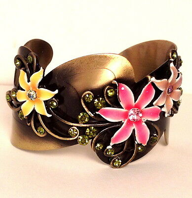 Pink Yellow Flower Green Crystal Vintage Style Cuff Bracelet New Costume Fashion