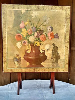 Antique / Vintage wooden folding table / fireplace screen with floral painting