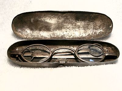 1790's Steel  Eyeglasses With Loops & Original Pins And Lenses In An Iron Case!