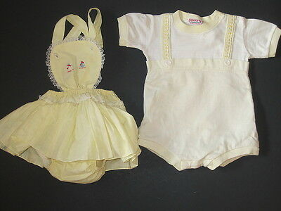 2 Vintage Yellow Baby Outfits Princess Pat Romper Sunsuit & Healthtex One Piece